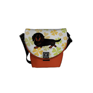 Dachshund Long Haired Black and Tan Messenger Bag