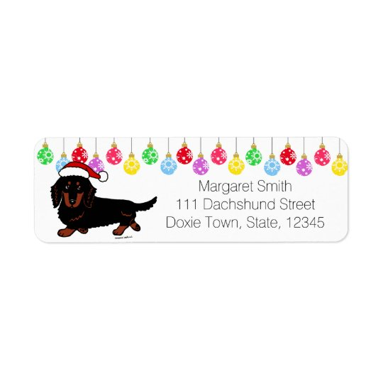 Dachshund Long Haired Black and Tan Santa Return Address Label