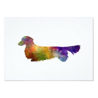 Dachshund Long Haired in watercolor-2 13 Cm X 18 Cm Invitation Card