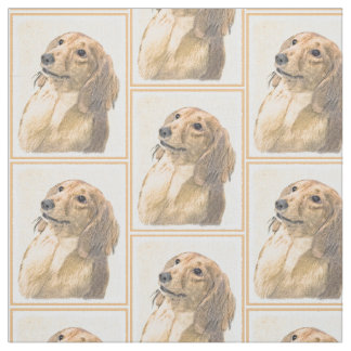 Dachshund (Longhaired) Painting - Original Dog Art Fabric