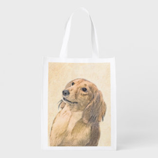 Dachshund (Longhaired) Painting - Original Dog Art Reusable Grocery Bag