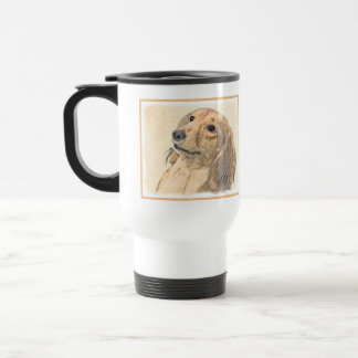 Dachshund (Longhaired) Painting - Original Dog Art Travel Mug