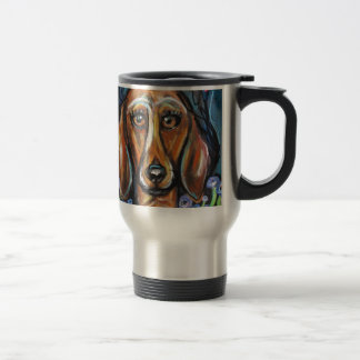 Dachshund love hearts travel mug