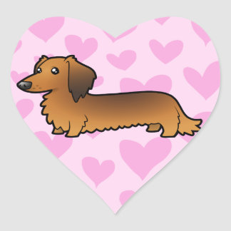 Dachshund Love (longhair) Heart Sticker