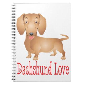 Dachshund Love Tan Puppy Dog Cartoon Notebook