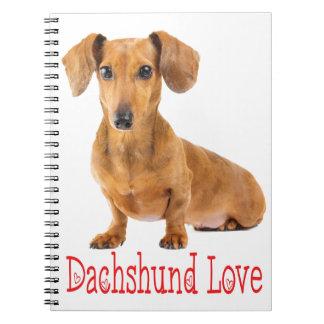Dachshund Love Tan Puppy Dog Spiral Notebook