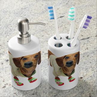 Dachshund - merry christmas - cute dog bathroom set
