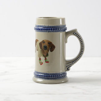Dachshund - merry christmas - cute dog beer stein