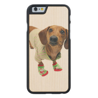 Dachshund - merry christmas - cute dog carved maple iPhone 6 case