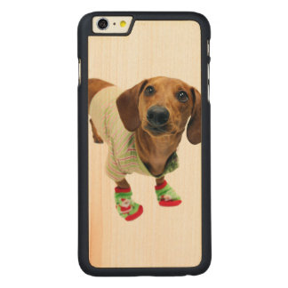 Dachshund - merry christmas - cute dog carved maple iPhone 6 plus case