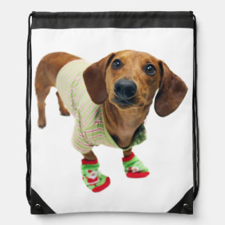 Dachshund - merry christmas - cute dog drawstring bag