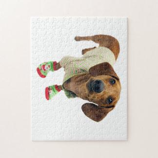 Dachshund - merry christmas - cute dog jigsaw puzzle