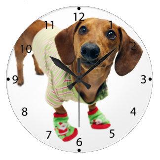 Dachshund - merry christmas - cute dog large clock