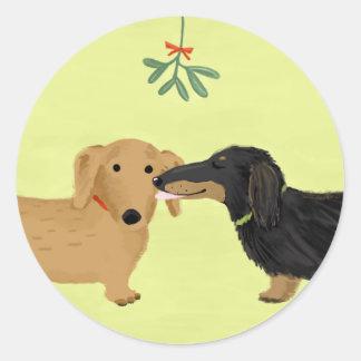 Dachshund Mistletoe Kiss Sticker