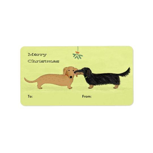 Dachshund Mistletoe Kiss - Wiener Dog Christmas Address Label
