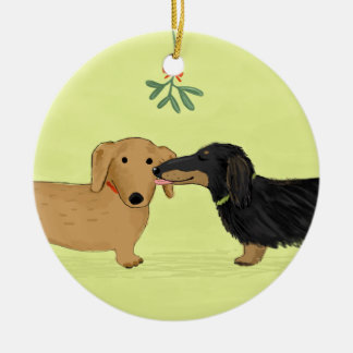 Dachshund Mistletoe Kiss - Wiener Dog Christmas Ceramic Ornament