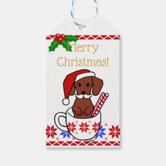 Dachshund Moustache Christmas Cartoon Gift Tags