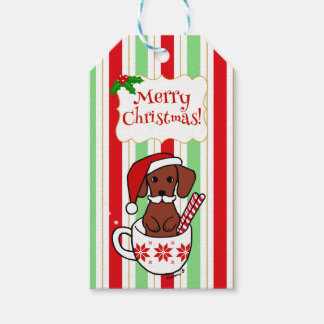 Dachshund Mustache Christmas Cartoon Gift Tags
