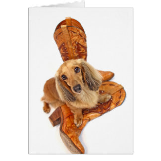 Dachshund on cowboy boots card