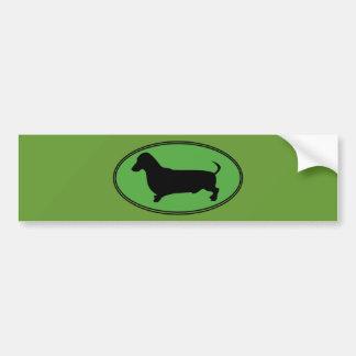 Dachshund Oval Green-Plain Car Bumper Sticker