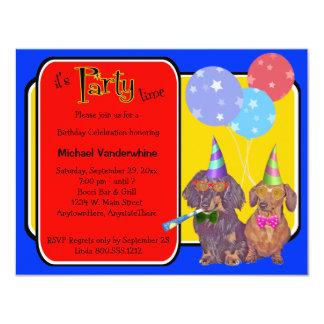 Dachshund Party Birthday Barker 11 Cm X 14 Cm Invitation Card