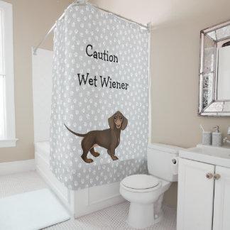 Dachshund Paw Print Shower Curtain