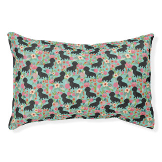 Dachshund pet bed - floral mint