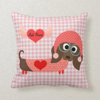Dachshund Pink Gingham Valentine Pillow
