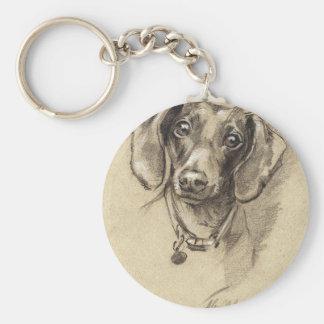 Dachshund portrait basic round button key ring