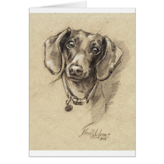 Dachshund portrait card