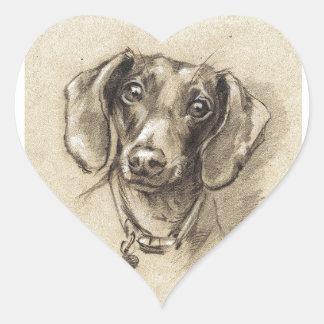 Dachshund portrait heart sticker