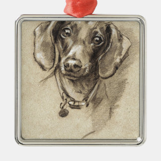 Dachshund portrait metal ornament