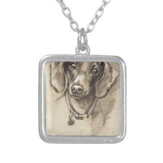 Dachshund portrait silver plated necklace