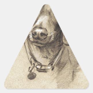 Dachshund portrait triangle sticker