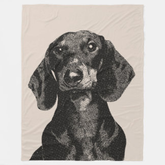 Dachshund Portrait Vintage Inspired Engraving Fleece Blanket