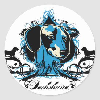 Dachshund Projekt Dog Illustration Round Sticker