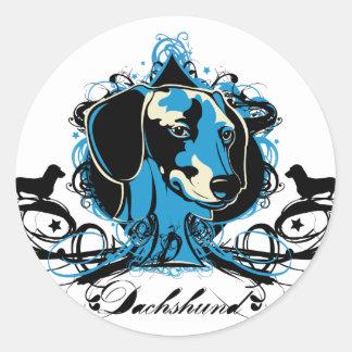 Dachshund Projekt Dog Illustration Round Sticker