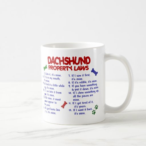 Dachshund Property Laws 2 Coffee Mugs