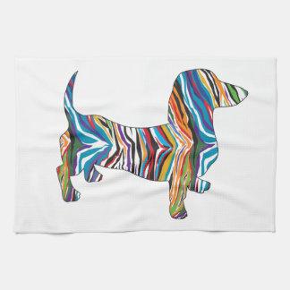 Dachshund - Psychedelic Zbra Doxie Tea Towel