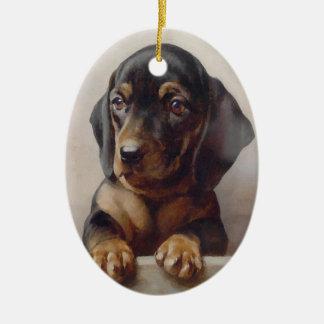 Dachshund Puppy Art Ceramic Ornament