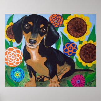 Dachshund Puppy Black and Tan Print