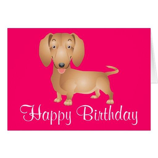 Dachshund Puppy Dog Happy Birthday Pink Card