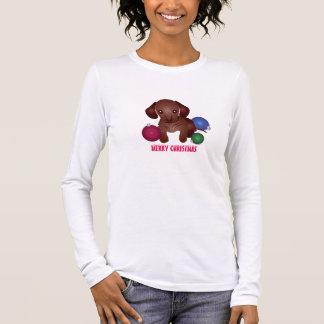 Dachshund Puppy Merry Christmas! Long Sleeve T-Shirt