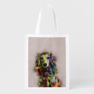Dachshund Puppy Sketch Paint Reusable Grocery Bag