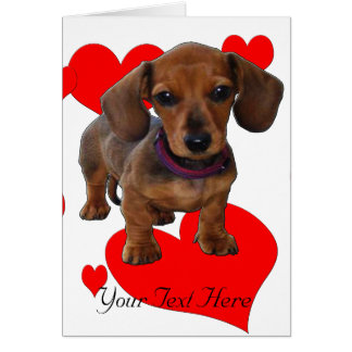 DACHSHUND Puppy with Hearts Card