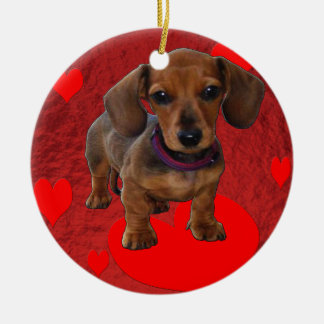 DACHSHUND Puppy with Hearts Ceramic Ornament