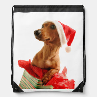 Dachshund santa - santa dog - dog gifts drawstring bag