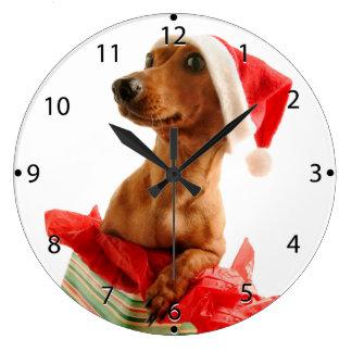 Dachshund santa - santa dog - dog gifts large clock