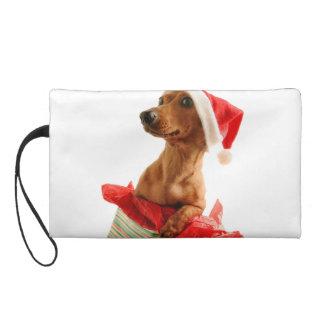 Dachshund santa - santa dog - dog gifts wristlet