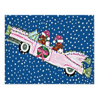 Dachshund Santas Christmas Cadillac Invitation